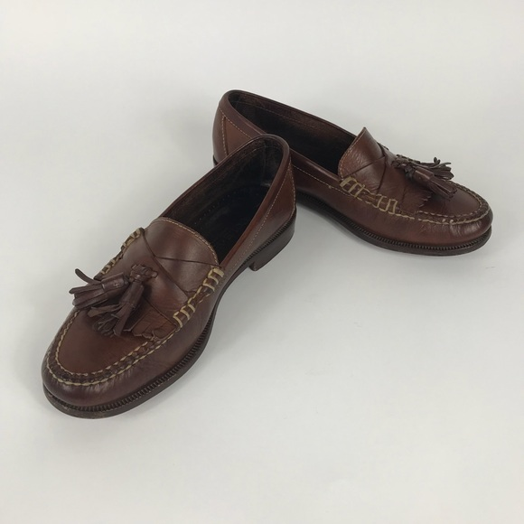 Cole Haan Brown Hand Sewn Mens Slip On Loafer Shoes With Tassels Size 10M